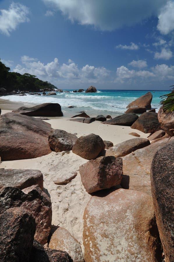 Anse Lazio, Seychellerna, Praslin ö royaltyfria foton