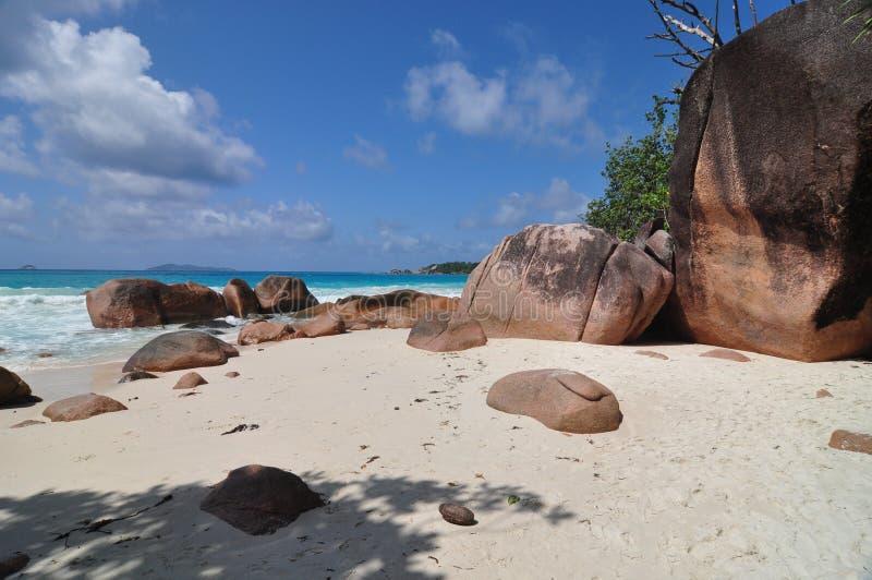 Anse Lazio, Seychelles, isla de Praslin fotos de archivo