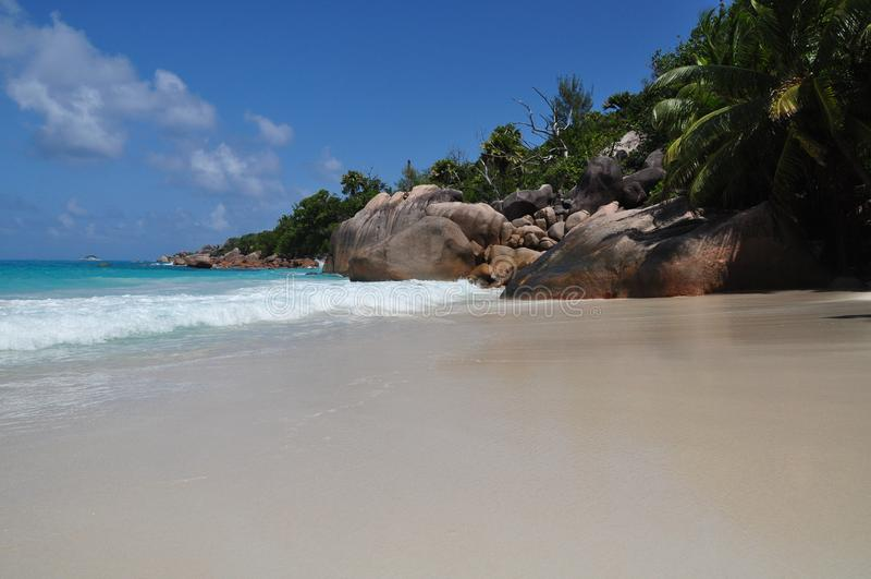 Anse Lazio, Seychelles, isla de Praslin foto de archivo