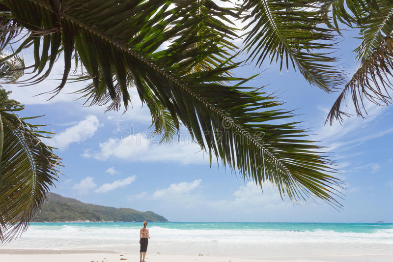 anse Lazio Seychelles kobieta fotografia royalty free
