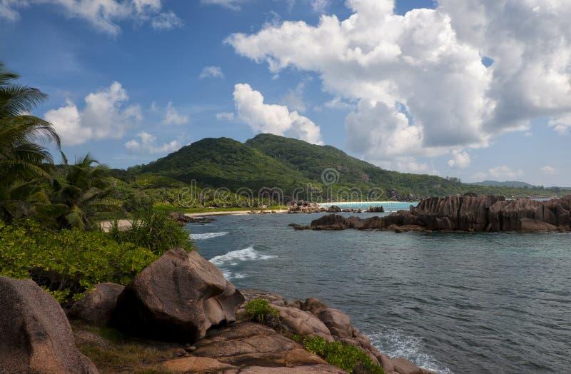Anse Marron, Tropikalna plaża przy Seychelles fotografia royalty free