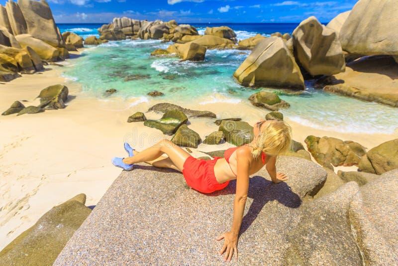 Anse Marron turist- kvinna arkivfoton