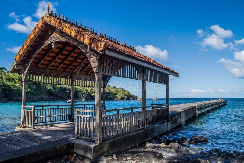Anse Noire Martinique beach pontoon. View of Anse Noire Martinique beach pontoon royalty free stock image