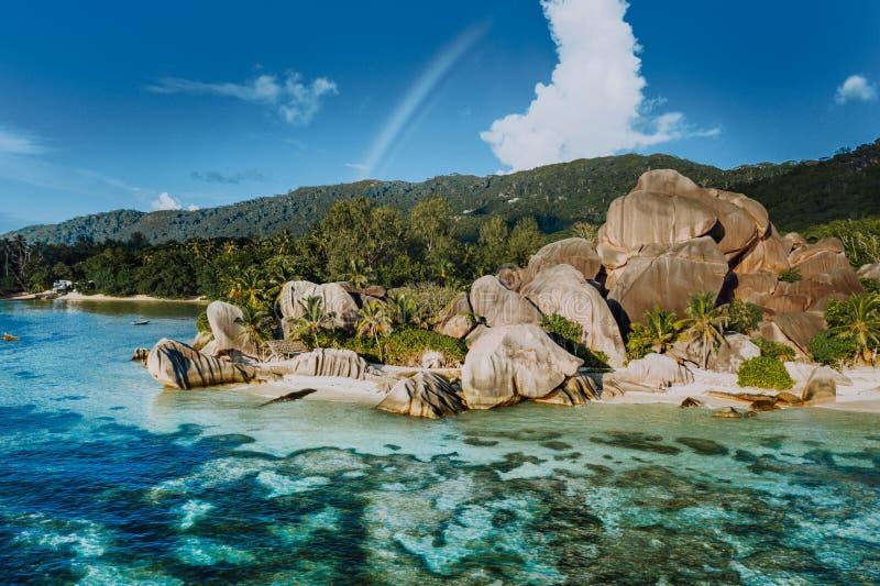 Anse playa tropical Argent de la fuente la D más hermosa ', La Digue Seychelles Concepto exótico de lujo del viaje fotos de archivo libres de regalías