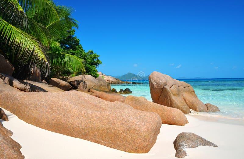 Anse Sever海滩,La Digue岛,印度洋,Seyshelles 免版税图库摄影