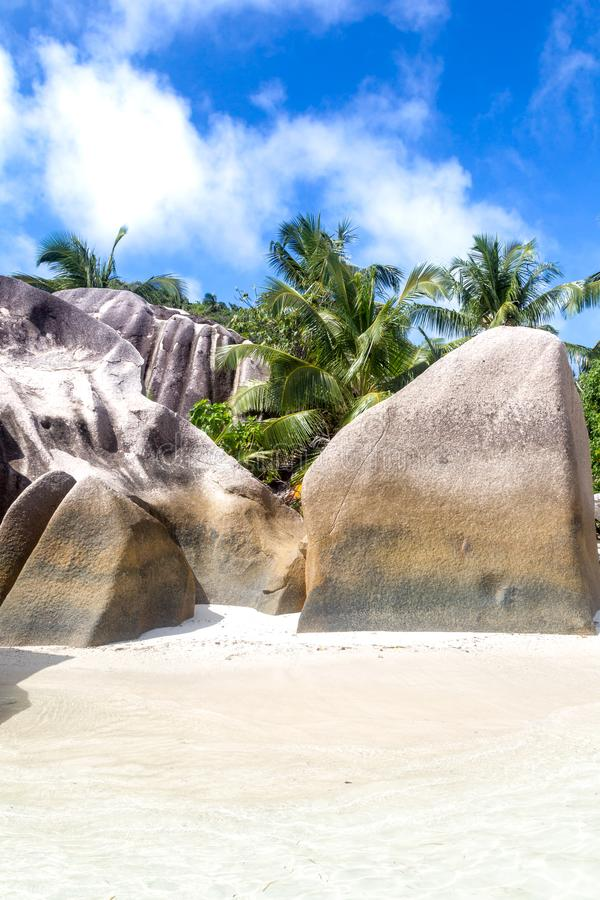 Anse Source d`Argent. Granite rocks and turqouise water at the tropical beach Anse Source d`Argent on La Digue, Seychelles stock photos