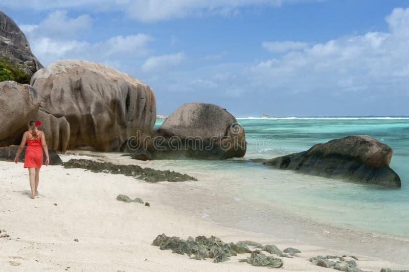 Anse Sourse D'Argent海滩 库存照片