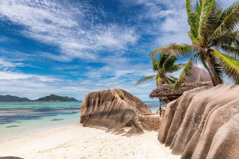"""Anse spiaggia di argento di fonte d """", isola di Digue della La, Seychelles fotografia stock"""