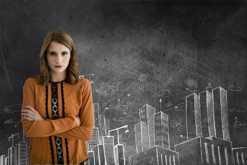 Anseende för affärskvinna mot grå bakgrund med stadssymboler royaltyfri fotografi