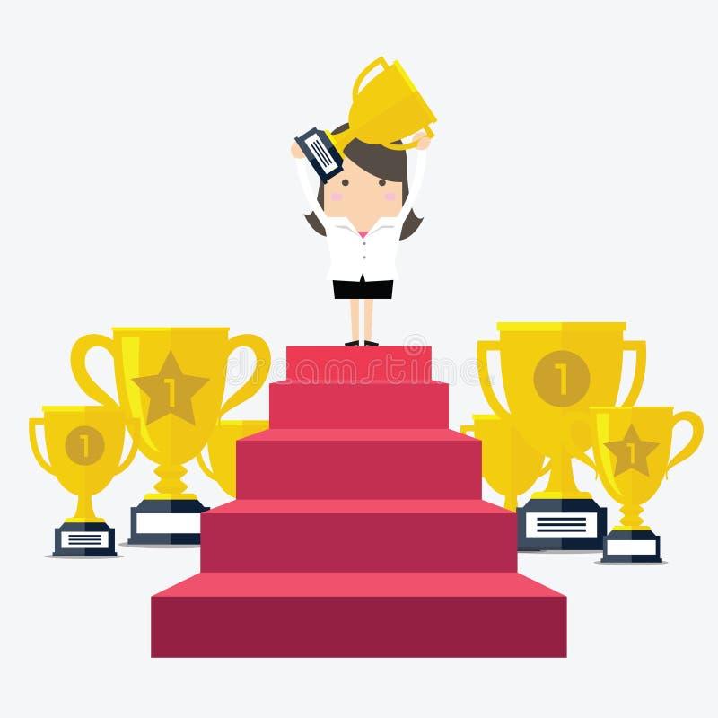 Anseende för framgångaffärskvinnatecken i ett hållande övre för podium en trofé vektor illustrationer