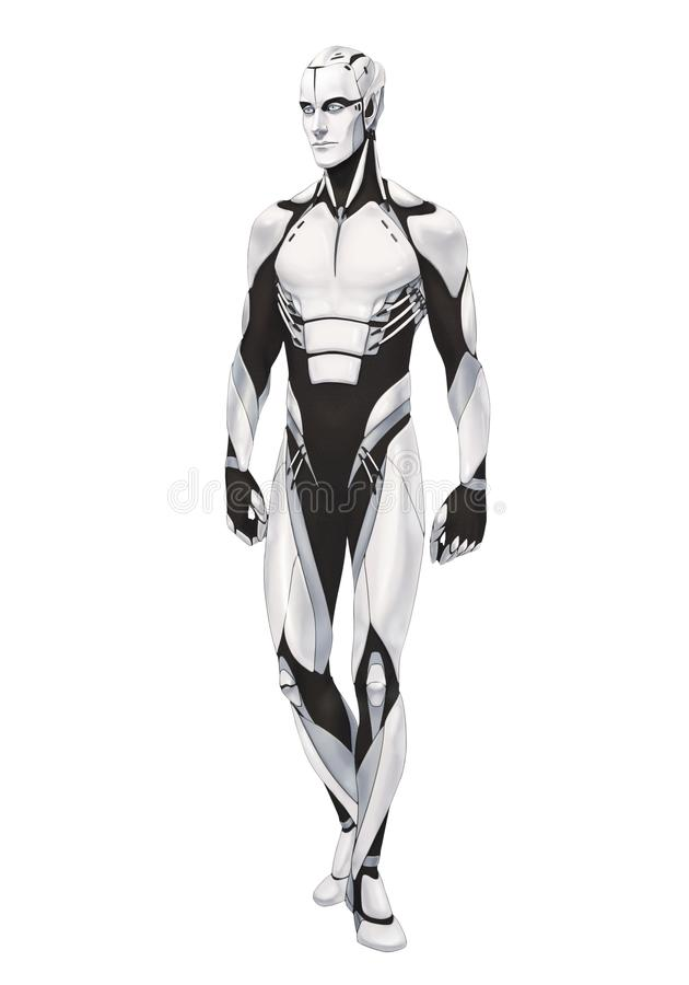 Anseende för kropp för futuristisk cyborgillustration isolerat fullt stock illustrationer