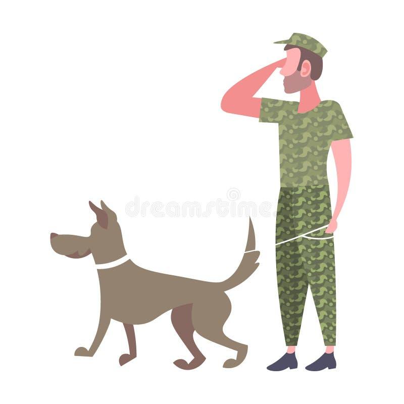 Anseende för militär man med hundarmésoldaten i kamouflagelikformig som saluterar för tecknad filmtecken för gest den manliga ful stock illustrationer