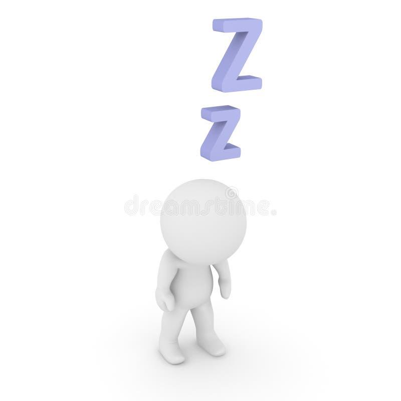 anseende för tecken 3D och sova med z-bokstäver stock illustrationer