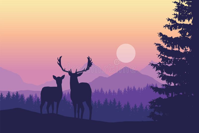 Anseende för två hjortar i barrskog under berg och yello vektor illustrationer