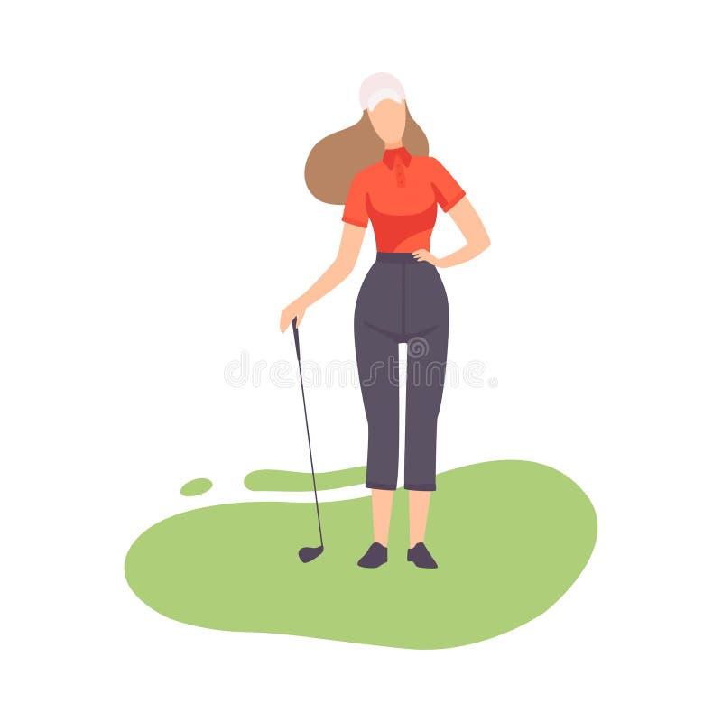 Anseende för ung kvinna med Golf Club, flickagolfarespelare som spelar på kurs med grönt gräs, den utomhus- sporten eller hobby royaltyfri illustrationer