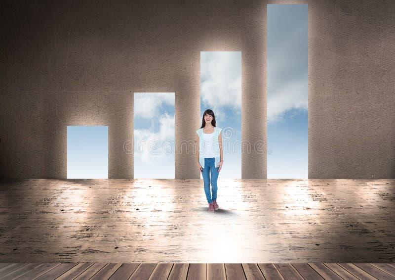 Anseende för ung kvinna mot dörröppningar för form för stånggraf arkivfoto