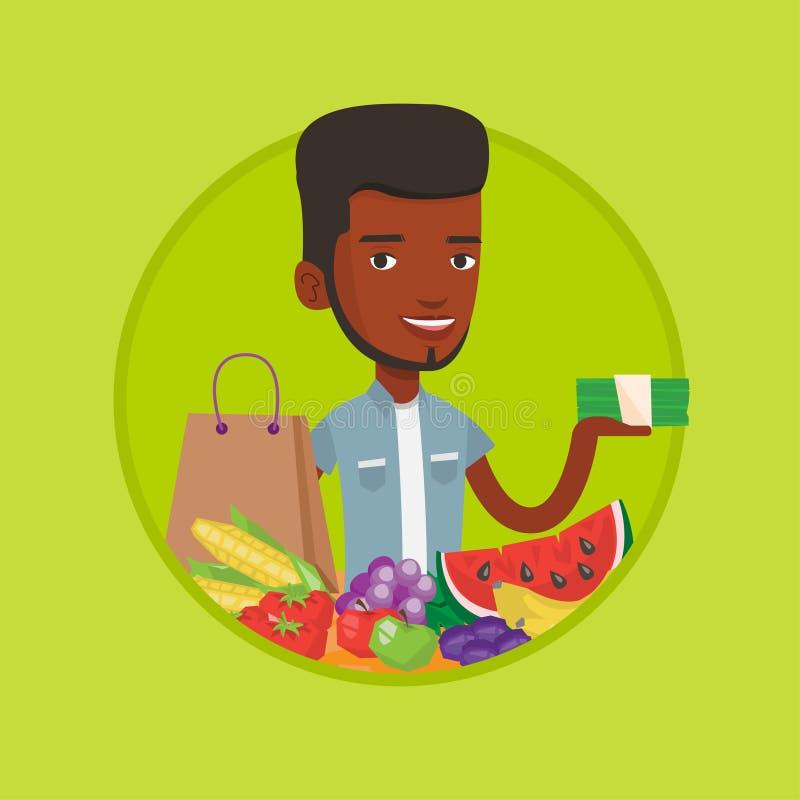 Anseende för ung man på tabellen med shoppingpåsen stock illustrationer
