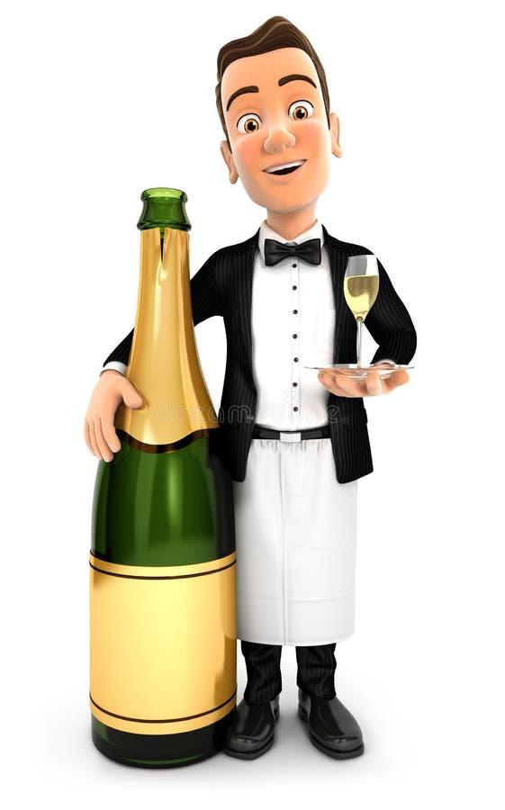 anseende för uppassare 3d bredvid champagneflaskan stock illustrationer