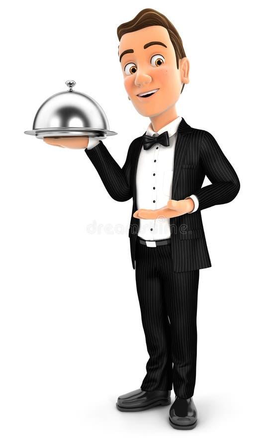anseende för uppassare 3d med restaurangsticklingshuset stock illustrationer