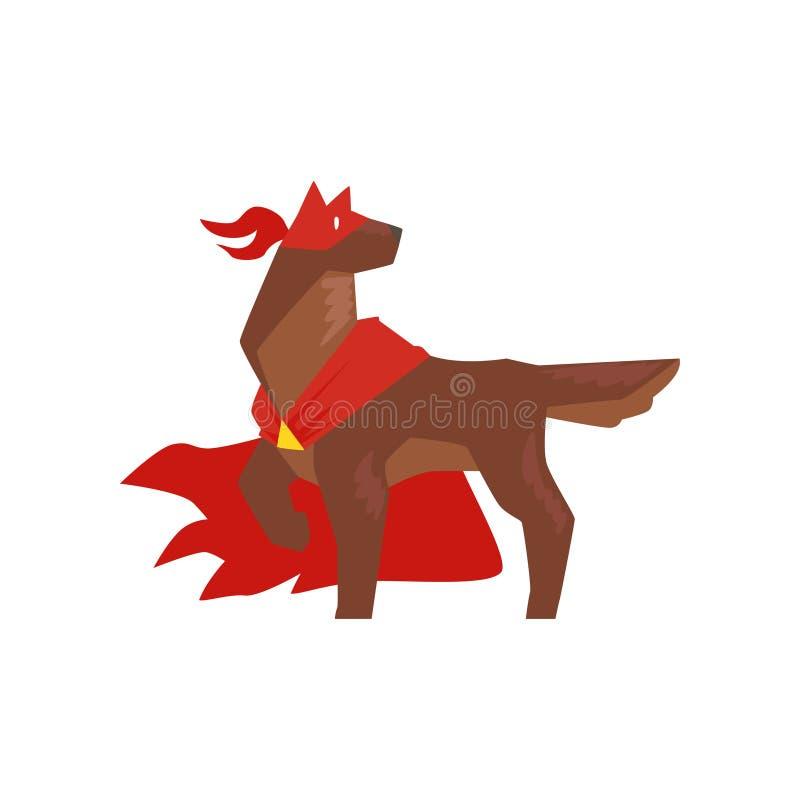 Anseendet för Superherohundtecken i heroiskt poserar, iklädd röd udde för den toppna hunden och illustrationen för maskeringsteck royaltyfri illustrationer