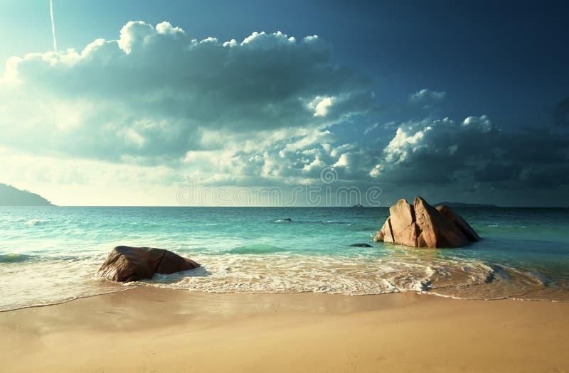 Anselazio strand, Praslin-eiland stock foto