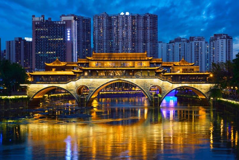 Anshun Bridge At Night, Chengdu, China Editorial Image ...