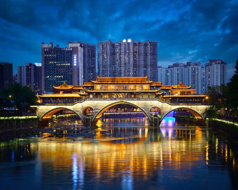 Anshunbrug bij nacht, Chengdu, China royalty-vrije stock fotografie