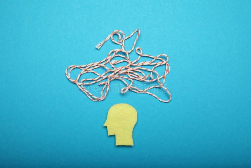 Ansia del cervello umano, ammasso e concetto di caos Concentrazione mentale fotografie stock
