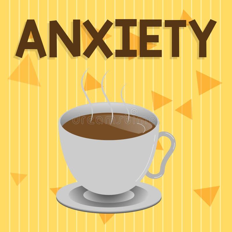 Ansia del testo della scrittura Concetto che significa eccessiva sindrome di attacco di panico di apprensione e di disagio illustrazione vettoriale