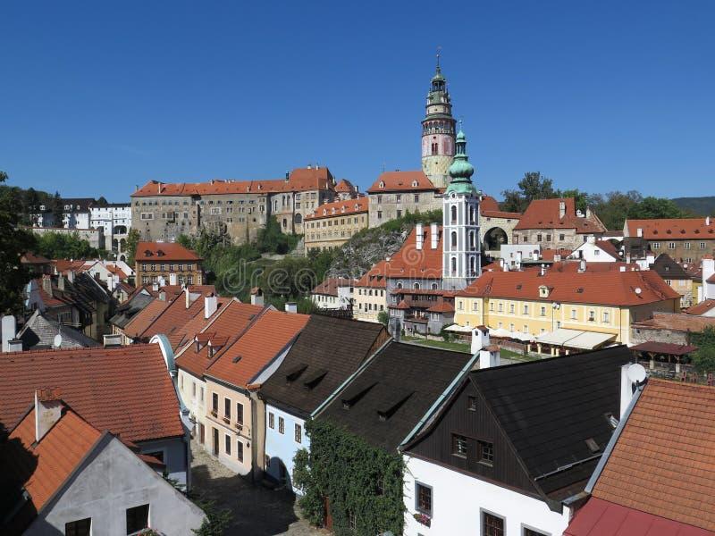 Ansicht über ÄŒeskÃ-½ Krumlov-Schloss - Krumau, Tschechische Republik lizenzfreie stockbilder