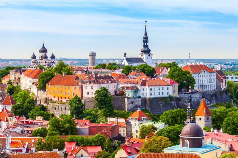 Ansicht über alte Stadt von Tallinn Estland stockbild