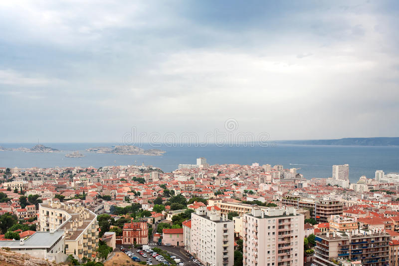 Ansicht über Chateau d'If nahe Marseille lizenzfreie stockfotos