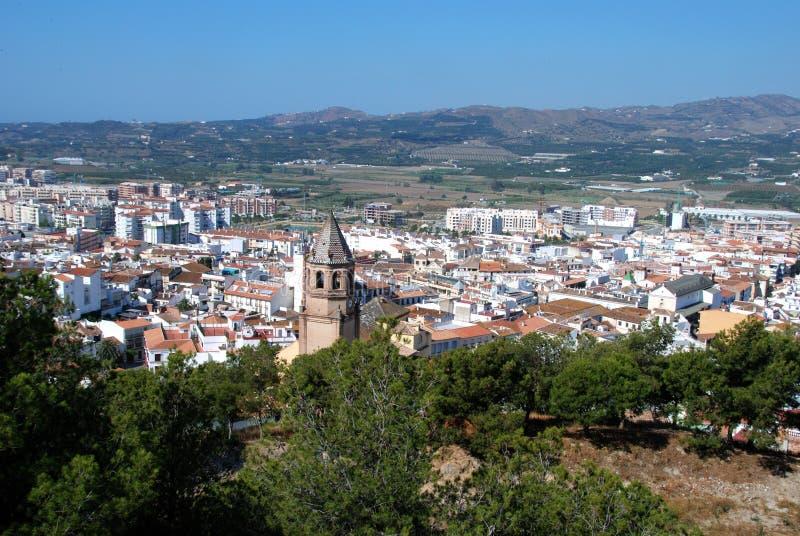Ansicht über Dachspitzen, Velez Màlaga, Spanien. stockbilder