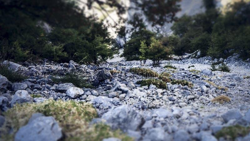 Ansicht über das abschüssige während der kletternden Erfahrung zur Spitze des Sveti Jure in den Biokovo-Bergen in Kroatien lizenzfreie stockbilder