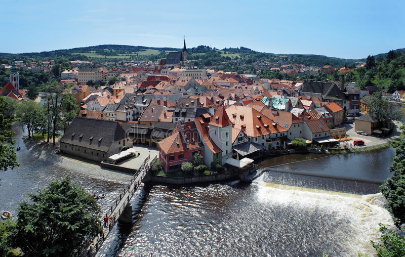 Ansicht über das Cesky Krumlov, Tschechische Republik stockbild