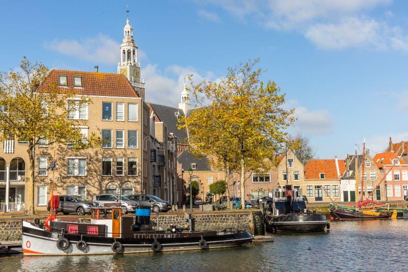 Ansicht über das Marnixkade, Maassluis, die Niederlande stockbild
