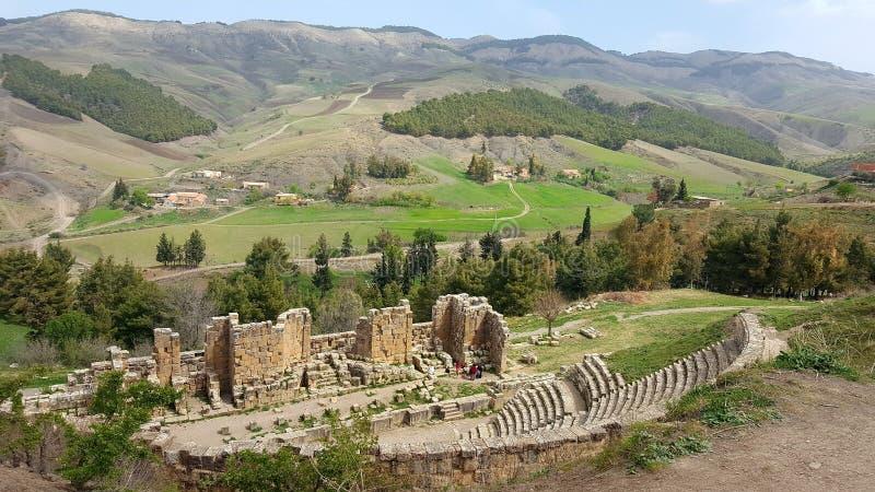 Ansicht über das römische Theater stockfoto