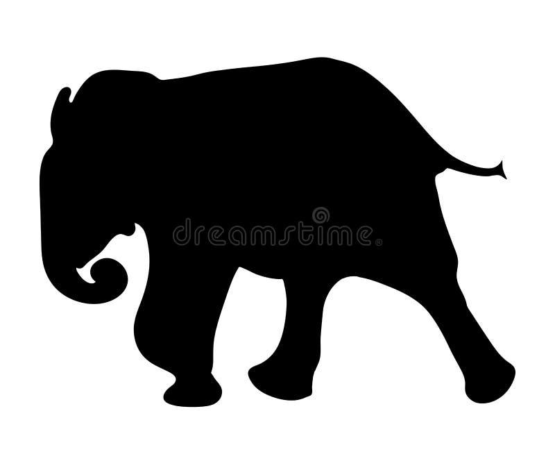Ansicht über das Schattenbild eines afrikanischen Elefanten lizenzfreie abbildung