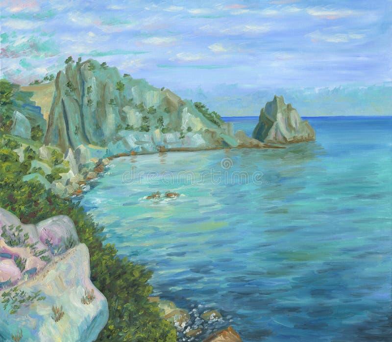 Ansicht über das Seeufer mit Klippen und Bäumen von einem großen Felsen stockbild