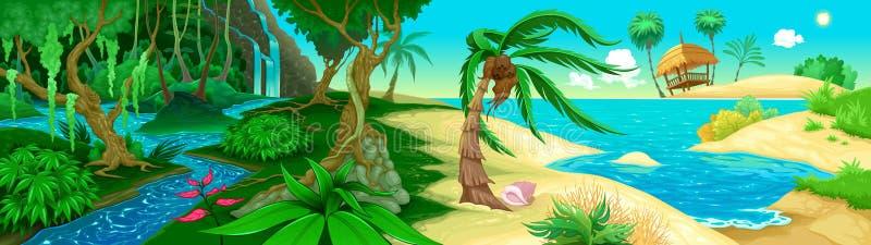 Ansicht über den Dschungel und das Meer lizenzfreie abbildung