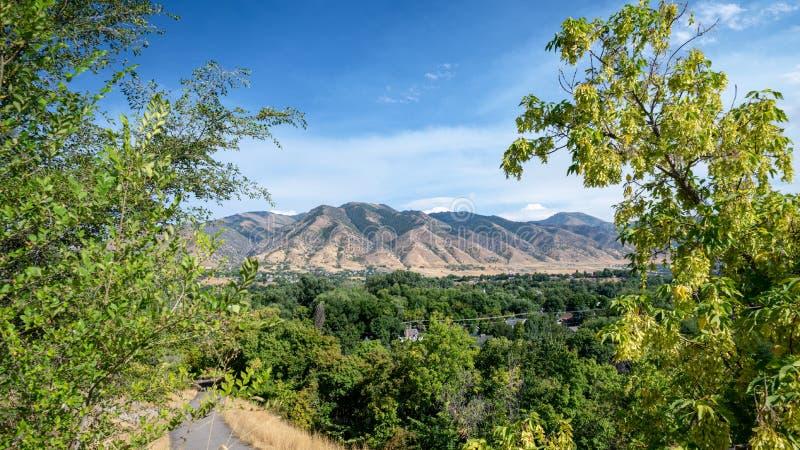 Ansicht über den Mount Logan, Utah stockbild