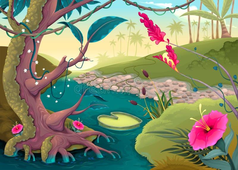 Ansicht über den Wald mit farbigen Blumen und Fluss stock abbildung