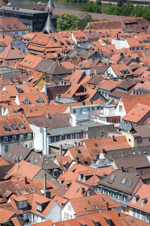 Ansicht über die bayerische Stadt von Heidelberg stockbild