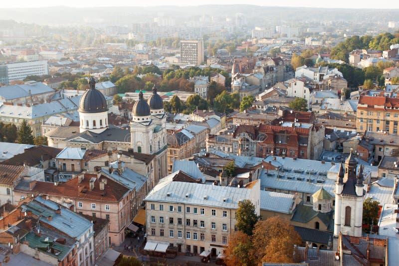 Ansicht über die Dächer von Häusern in der alten Stadt von Lemberg, ein beautif lizenzfreie stockfotos