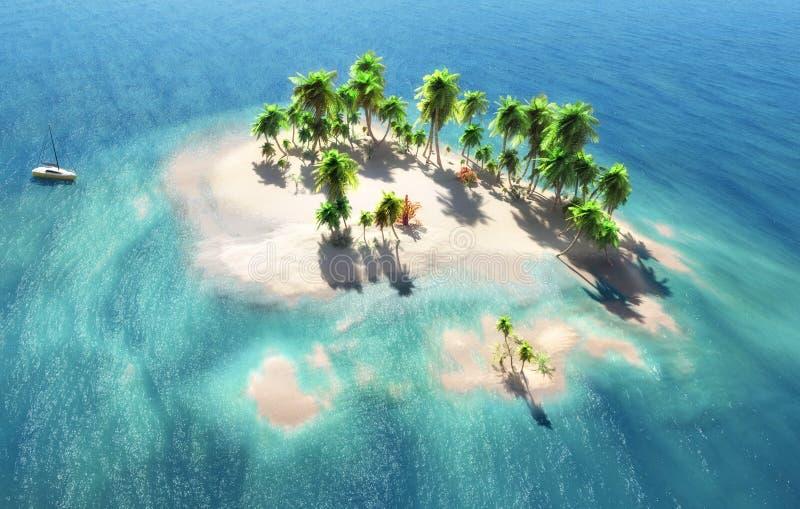 Ansicht über die Insel und den sandigen Strand stockbilder