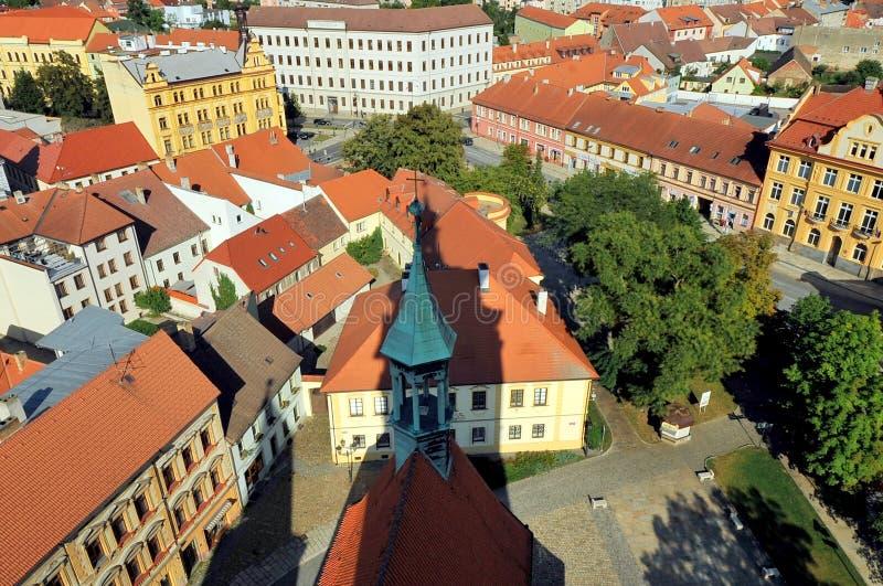 Ansicht über die Stadt von Pisek, Tschechische Republik stockbilder