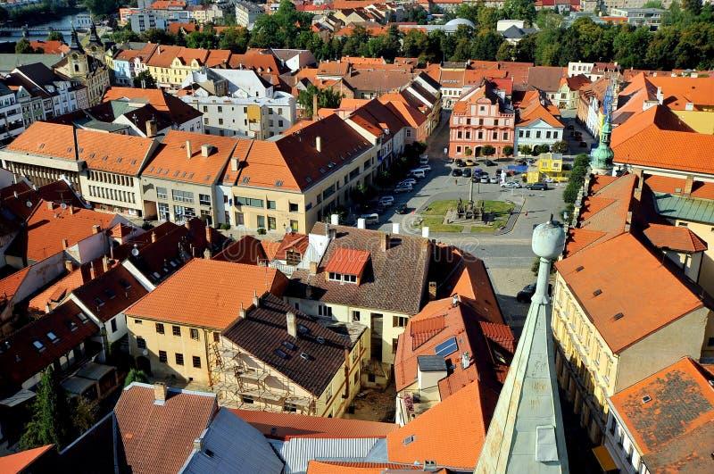 Ansicht über die Stadt von Pisek, Tschechische Republik lizenzfreies stockfoto