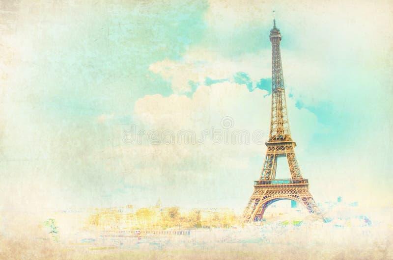 Ansicht über Eiffelturm in Paris, Frankreich stockbild