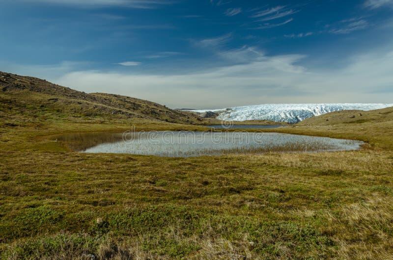 Ansicht über einen See nach vorn Gletscher, Punkt 660, Kangerlussuaq, Grönland stockbilder