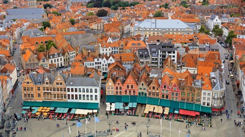 Ansicht über historische alte Stadt Brügges stockbild